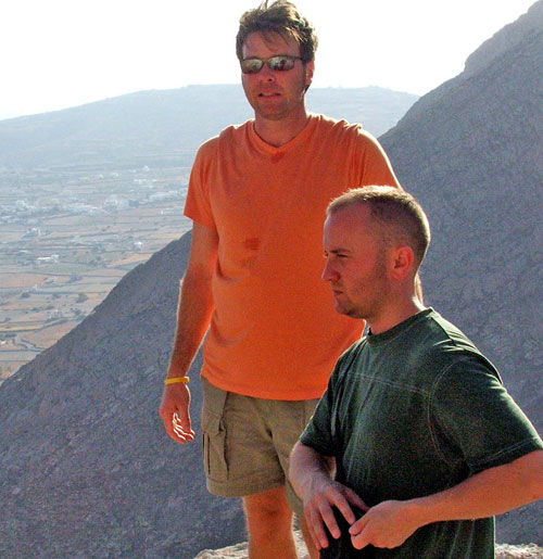 Dan Drees and JT Krohe take some pics from halfway up Mt. Thera