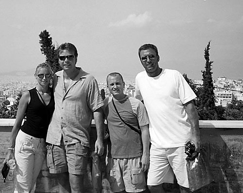 Anna, Dan Drees, JT Krohe, Barry Edwards. Top of the Acropolis Athens Greece 2006