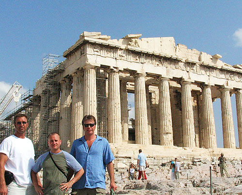 Barry Edwards, JT Krohe and Dan Drees in front of the Partheneon in Athens, Greece.