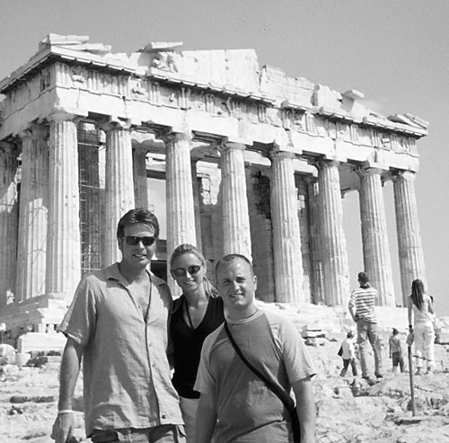 Dan Drees, Anna and JT Krohe in front of the Parthenon.