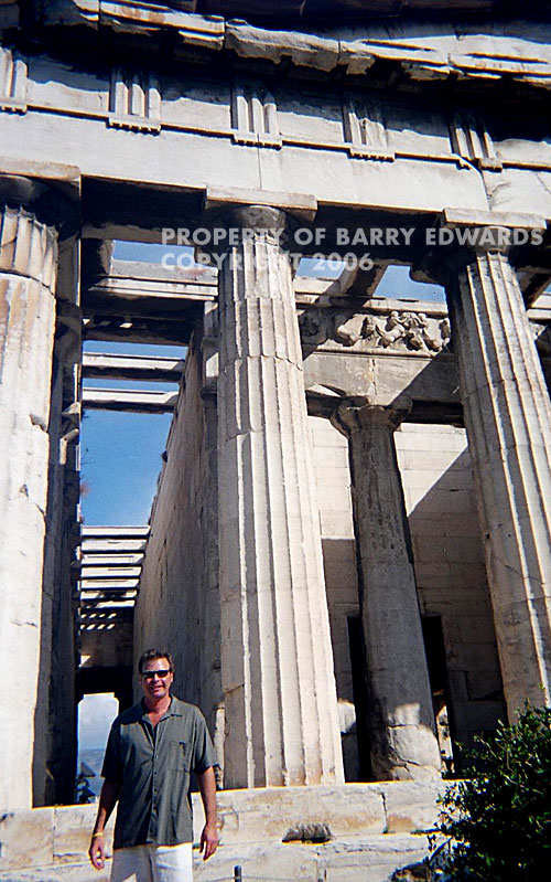 Dan Drees in front of part of the Acropolis