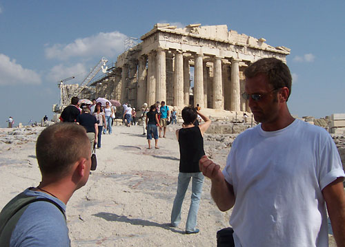 JT Krohe and Barry Edwards in front of the Parthenon