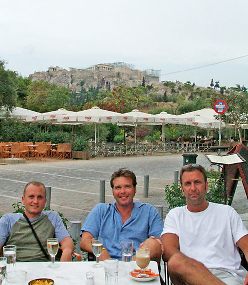 JT, Dan and Barry Edwards sit at one of their favorite restaurants in Athens, Greece