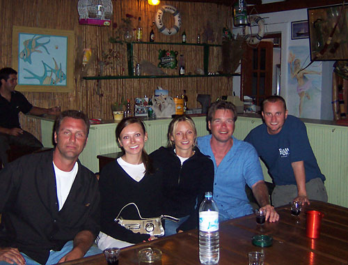 Barry Edwards, Barb, Anna, Dan Drees and JT Krohe, Mykonos, Greece 2006