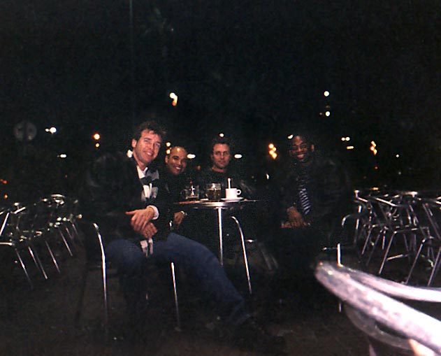 Dan Drees, Tony Jones, Barry Edwards at night in Barcelona