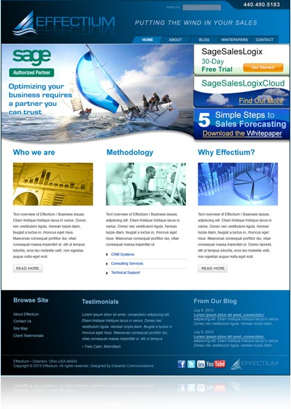 Effectium website design and production, by Edwards Communications, cleveland, ohio