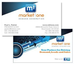 Market One logo and business card designed by Edwards Communications