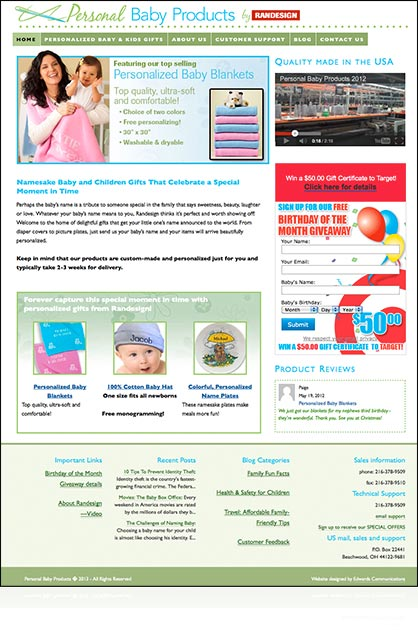 Personal Baby Products e-commerce site by Edwards Communications