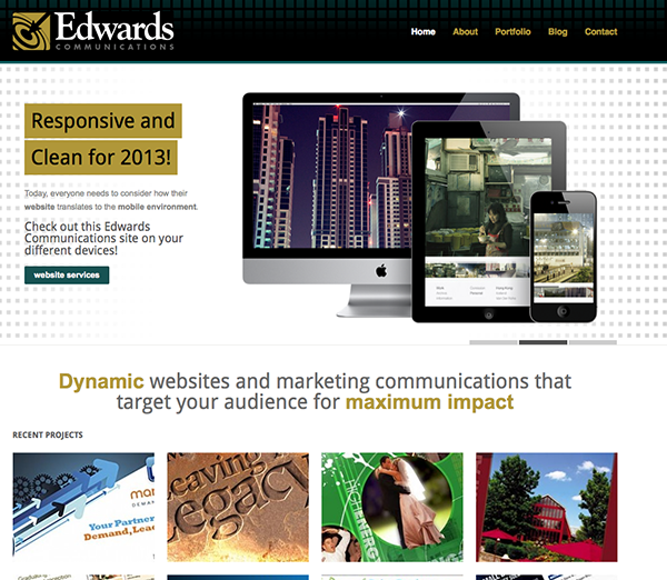 edwards communications responsive website, 2013