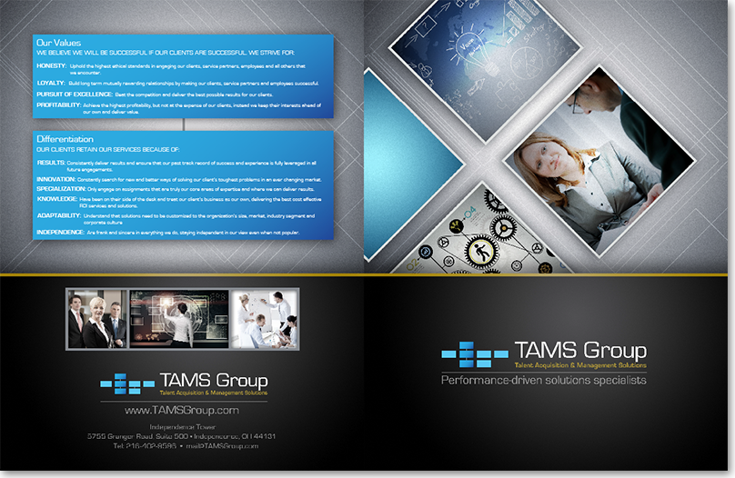TAMS Group brochure design, copy editing, printing