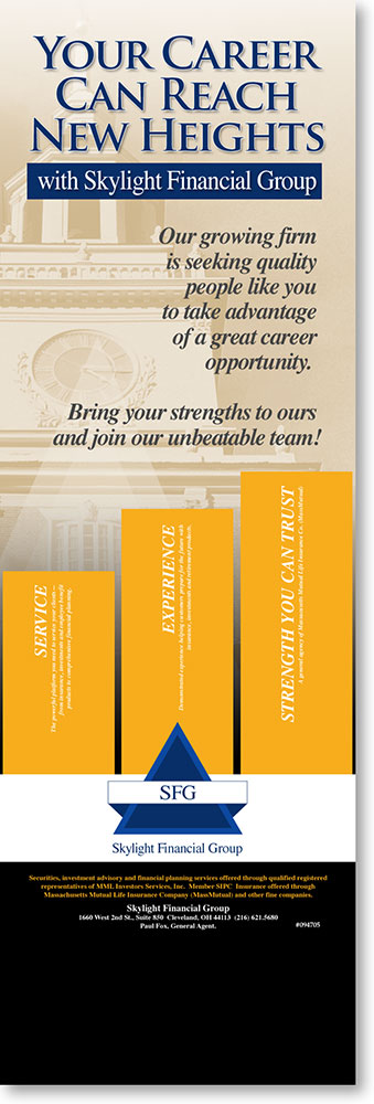trade show banner for SkyLight Financial, by Barry Edwards, edwards-communications