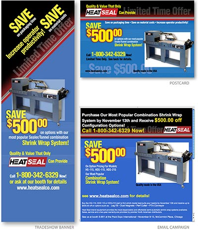 Trade show ads and email campaign for HeatSeal, Inc. by Barry Edwards, EdwardsCom.net, Cleveland, Ohio