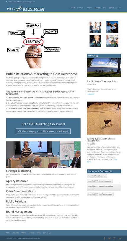 NMV Strategies website designed by Edwards Communications, Cleveland, Ohio