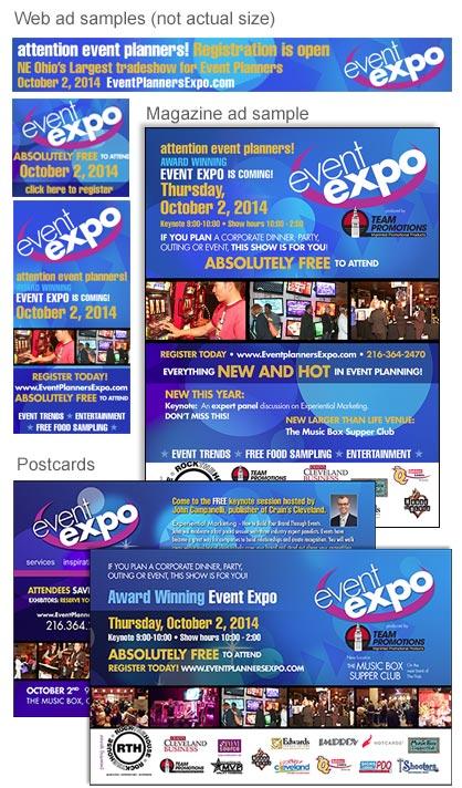 event postcards, ads, web banner ads - event marketing, EdwardsCom.net, Cleveland