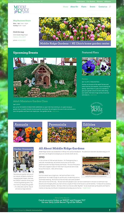 Web site, social media integration: Middle Ridge Gardens, Madison, Ohio by Edwards Communications