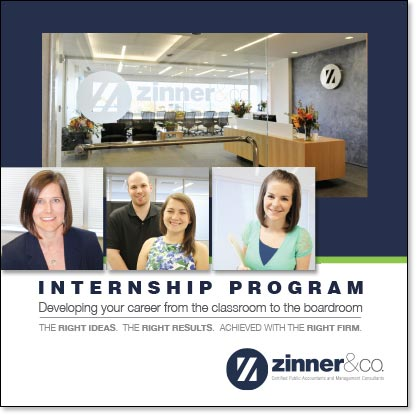 cover for Zinner and Co.'s 10-panel brochure to attract top intern talent to their accounting firm by EdwardsCom.net