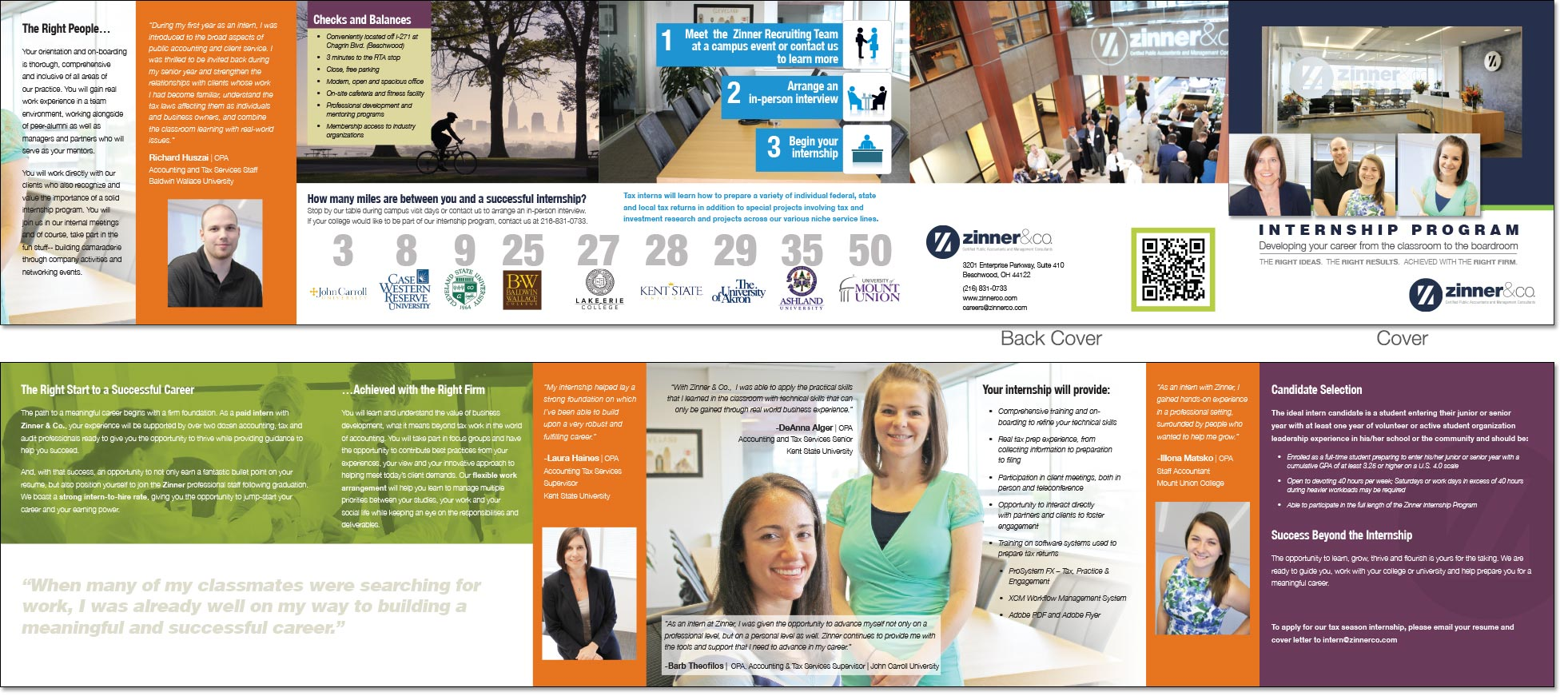 Zinner and Co. 10-panel brochure to attract top intern talent to their accounting firm by EdwardsCom.net