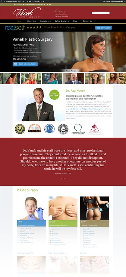 Mentor Plastic Surgery site re-design by Edwards Communications, Cleveland, Ohio