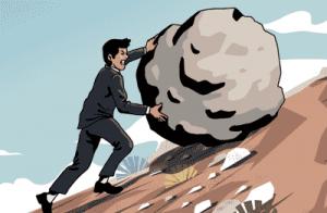 Online marketing can feel like rolling a boulder up a hill. Over 50 Starting Over online marketing training