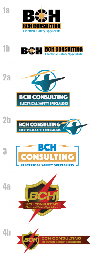 BCH Electrical Safety Consulting logo proofs for market testing