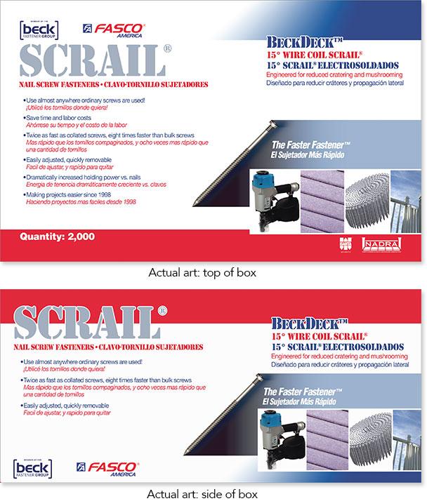 Hardware store packaging design. Scrail nails by Barry Edwards. EdwardsCom.net