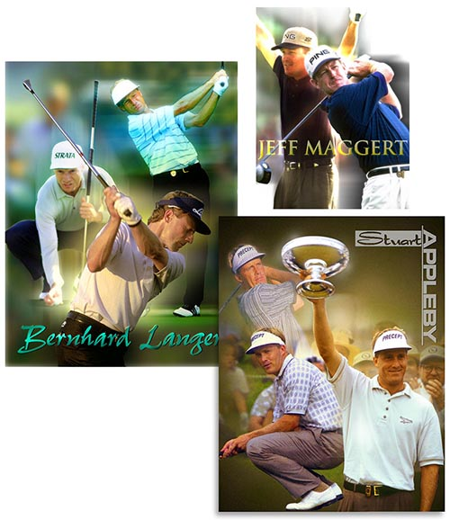 IMG pro golf posters, M&M brochure